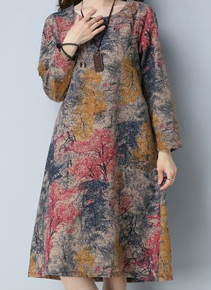 Chinese Casual Floral Tunic Round Neckline A-line Dress (107519912)