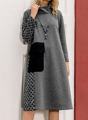 Color Block Sweater Long Sleeve Knee-Length A-line Dress