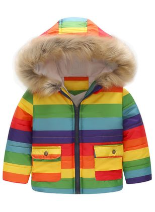 Boys' Sweet Color Block Hooded Coats