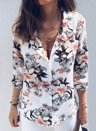 Floral Casual V-Neckline Long Sleeve Blouses