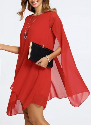 Elegant Solid None Tunic Shift Dress (1136178)