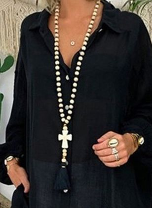 Casual Ball Cross Gemstone Pendant Necklaces (4541269)