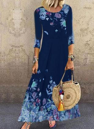Casual Floral Shirt Round Neckline A-line Dress (4355825)