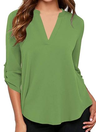 Solid Casual V-Neckline Long Sleeve Blouses (146945384)