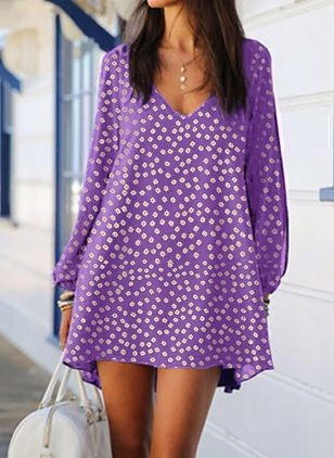 Casual Floral Tunic V-Neckline A-line Dress (100001919)