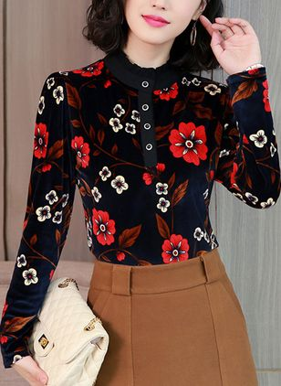 Floral High Neckline Long Sleeve Vintage T-shirts