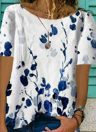 Floral Round Neck Short Sleeve Casual T-shirts (147058733)