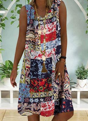 Casual Floral Tunic V-Neckline Shift Dress (4209926)