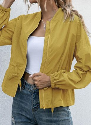 Long Sleeve Stand Collar Sashes Zipper Coats Jackets (107562261)