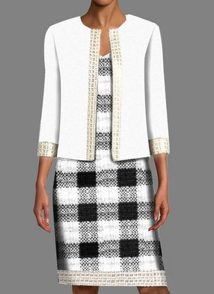 Elegant Plaid Tunic V-Neckline Shift Dress (107562301)