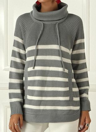 Draped Neckline Stripe Casual Loose Regular Pockets Sweaters (112236913)