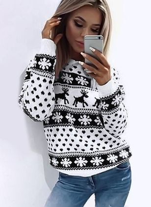 Round Neckline Animal Loose Regular Sweaters