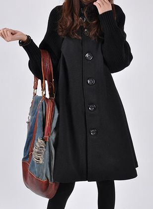 Long Sleeve High Neckline Buttons Peacoats (102930613)