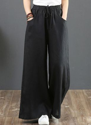 Casual Loose Pockets High Waist Cotton Linen Pants (147059383)