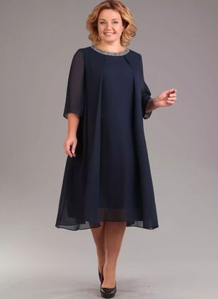 Plus Size Solid 3/4 Sleeves Midi A-line Dress