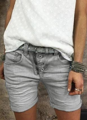 Casual Skinny Pockets Mid Waist Denim Jeans Shorts (4044683)