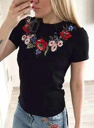 Cotton Blends Floral Round Neck Short Sleeve T-shirts