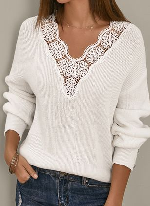V-Neckline Solid Elegant Loose Regular Lace Hollow Out Buttons Sweaters (5144326)