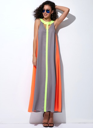Arabian Color Block Round Neckline Maxi A-line Dress (1039531)