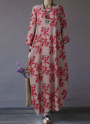Chinese Casual Floral Tunic Round Neckline A-line Dress (107520099)
