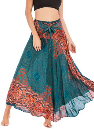 Floral Maxi Casual Sashes Skirts (4127626)