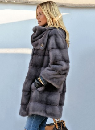 Shearling & Faux Shearling Long Sleeve Other Buttons Coats