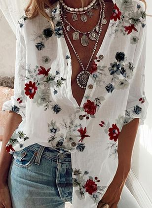 Floral Casual V-Neckline Long Sleeve Blouses (106586889)