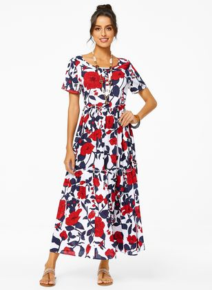 Casual Floral Round Neckline Maxi A-line Dress (1330721)