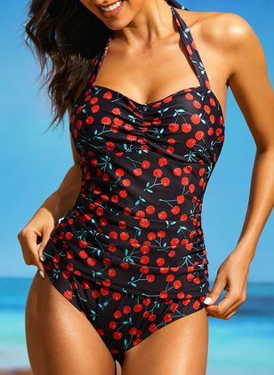 Pluss Størrelse Polyester Grime Pattern One-pieces Badedrakter (1303061)