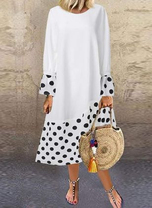 Casual Polka Dot Tunic Round Neckline A-line Dress (4265258)