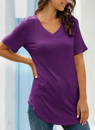 Solid V-Neckline Short Sleeve Casual T-shirts (4209110)