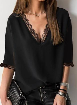 Solid Casual V-Neckline 3/4 Sleeves Blouses (147182557)