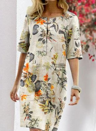 Casual Floral Tunic Round Neckline A-line Dress (104917790)