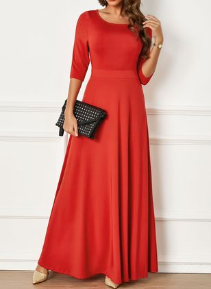 Elegant Solid None Round Neckline A-line Dress (1250410)