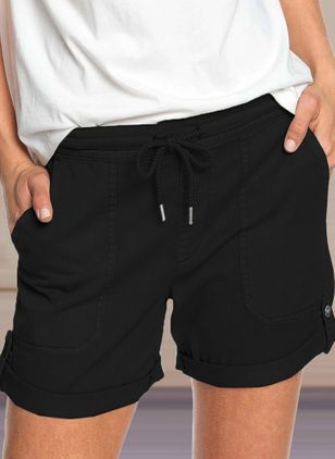 Casual Straight Pockets Low Waist Polyester Pants Shorts (147009456)