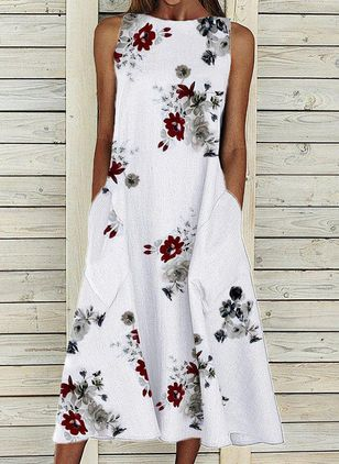Casual Floral Tunic Round Neckline A-line Dress (147493528)