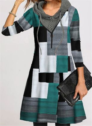 Casual Color Block Round Neckline Knee-Length A-line Dress (146762022)