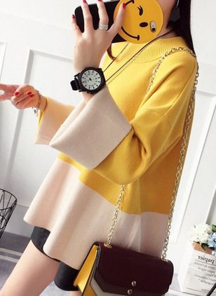 Round Neckline Color Block Loose Long Shift Sweaters
