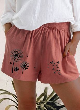 Casual Loose Pattern Pockets Mid Waist Linen Shorts (147156085)