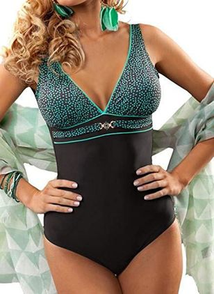 Plus Size One-piece Polyester High Waist Color Block Plus Swimwear (1513084)