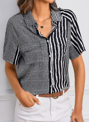 Stripe Casual Collar Short Sleeve Blouses (4037508)