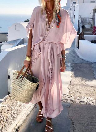 Solid Wrap Short Sleeve Maxi Shift Dress