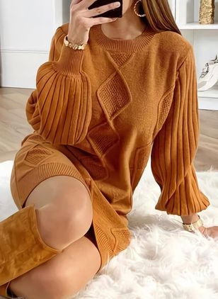 Round Neckline Solid Casual Loose Long Shift Sweaters (128228746)