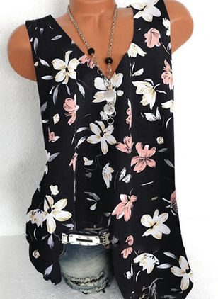 Floral Casual V-Neckline Sleeveless Blouses (4347925)
