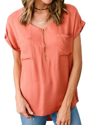 Solid V-Neckline Casual Shift Blouses Short Sleeve Plus Blouses (4127331)