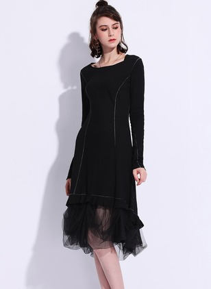 Polyester Solid Long Sleeve Mid-Calf Casual Dresses