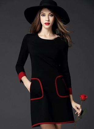 Casual Color Block Skater Round Neckline Shift Dress (1238082)