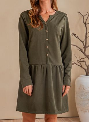 Casual Solid Tunic V-Neckline Shift Dress (111109922)