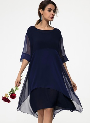 Chiffon Solid Half Sleeve Midi Shift Dress