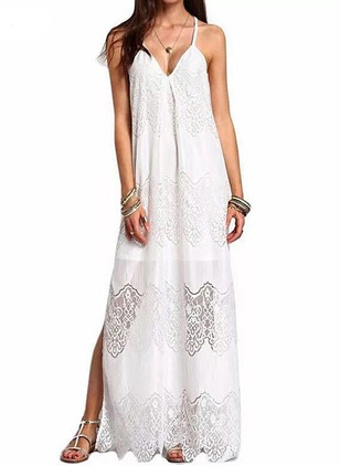 Solid Lace Slip Maxi Shift Dress